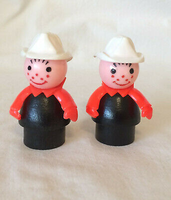 Fisher Price Vintage Little People FIREMAN Fire Man Wood, White Hat, Red Scarf