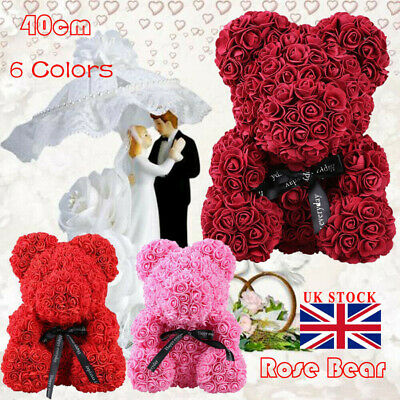 UK Rose Bear Toy Heart Flower Gift For Mother's Day Birthday Wedding 40cm/25cm