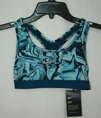 Nike Girls' Dry Teal Blue Graphic Dri-FIT Sports Bra (AT3242-452) - Size M - NWT