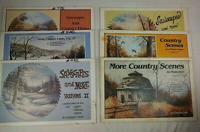 Lot Of 6 Vintage Dorothy Dent Books Sawscapes Country Scenes Painting How To