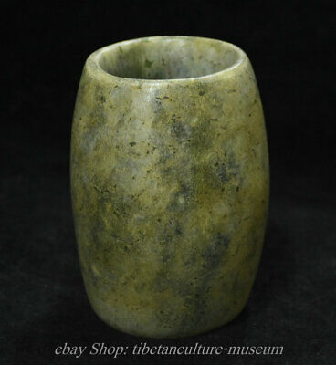 12cm Chinese Old antique Jade Jadetie Hand-Carved Yu Zong jade Sculpture