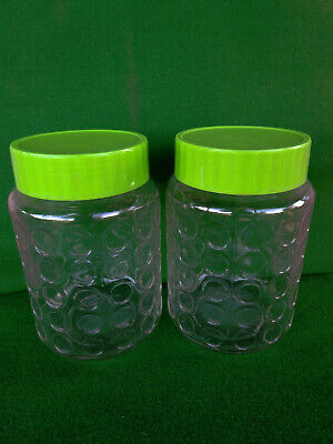 2 - Dimple Glass Jar Canister Green Lid Bubble Pattern Storage Vintage