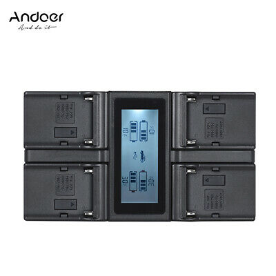 Andoer NP-F970 4-Channel Camera Battery Charger With Cable EU Plug A3F1