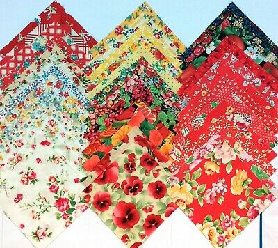 "34 MIXED FLORAL  Cotton Quilting Patchwork Fabric 5"" Charm Squares FLOWERS"