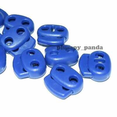 "Blue OVAL Cordlock ( Hole = 3/16"" ) Cord Locks Toggles Barrel Spring Stopper End"