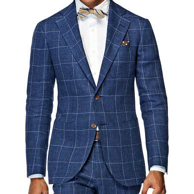 Men's Windowpane Suit Tailor Made Navy Blue Check Groom Tuxedos Wedding Suits