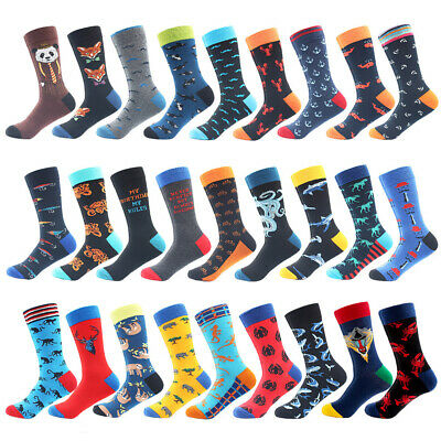 Mens Combed Cotton Socks Novelty Animals Funny Casual Long Tube Socks For Gifts