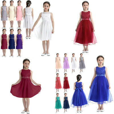 Flower Girl Princess Dress Pageant Wedding Bridesmaid Formal Gown Shiny Dresses