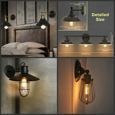 NEW Bathroom Vanity Light Wall Fixture Rustic Farmhouse Decor Oil Rubbed Bronze
