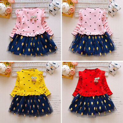 Toddler Kids Baby Girl Princess Floral Tulle Party Dress Clothes Outfits
