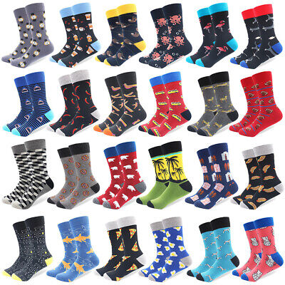 Mens Combed Cotton Socks Novelty Funny Casual Long Dress Socks For Wedding Gifts