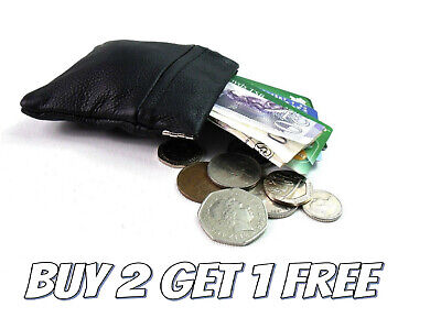 New Ladies Men Genuine Leather Small Coin Card Key Ring Wallet Pouch Purse SprCn