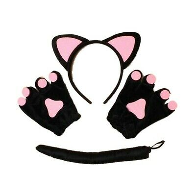 Black Pink Cat Ears Hair Band Tail and Mittens Set Fancy Dress Party Hen Child