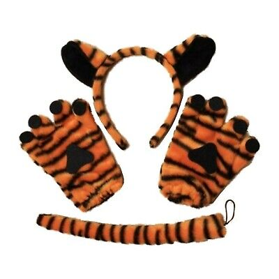 Tiger Leopard Ears Tail Bow Tie Hen Night Party Fancy Dress Outfit