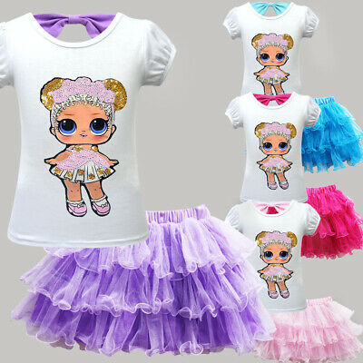 Nuovo LoL Surprise Dolls Tema Kids Girls Party Dresses T Shirt Tutu Gonne Outfit