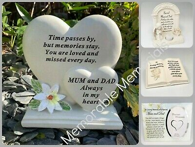 Mum and Dad Memorial Plaque Frame Stake Flower Vase Grave Candle Remembrance