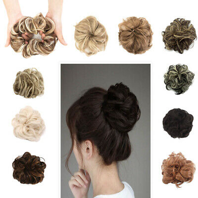 Large Thick Curly Messy Bun Chignon Scrunchie Fake Hair Extensions Many Colors
