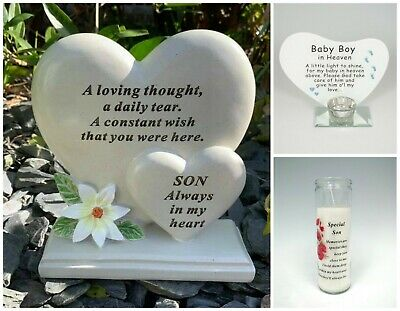 Son Baby Boy Memorial Plaque Frame Stake Flower Vase Grave Candle Remembrance