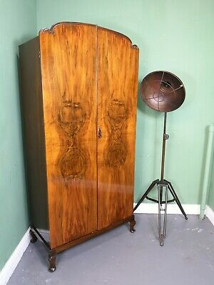 An Antique Art Deco 20th Century Walnut Wardrobe ~Delivery Available~