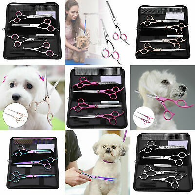Pet Dog Cat Grooming Scissors Cutting Curved Thinning Shears Set NEW