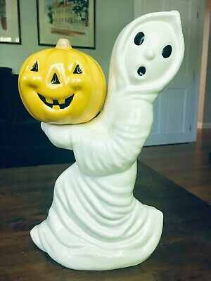 Vintage Halloween Ceramic Light With Witch Spooky Tree