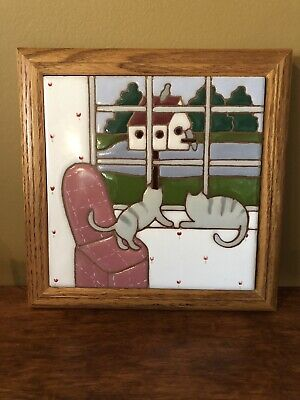 Vintage Handpainted Tile Trivet by Siegel Arts Cat Kitty Bird Ceramic Wood Frame