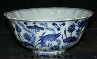 "9.2"" Xuande Marked Old Chinese Blue White Porcelain Dynasty Fish Lotus Leaf Bowl"