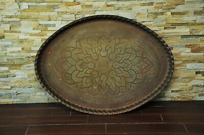 """Mid-Century HUGE Oval Etched Brass Table Top Tray -Moroccan Indian Large 46"""""""