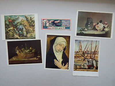 Lot de 5 Cartes Postales de La Loterie Nationale + 1 Billet Porte Chance
