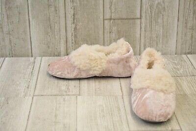 **Dearfoams Crushed Velvet Bootie - Little Girls Size 2-3, Chalk Pink