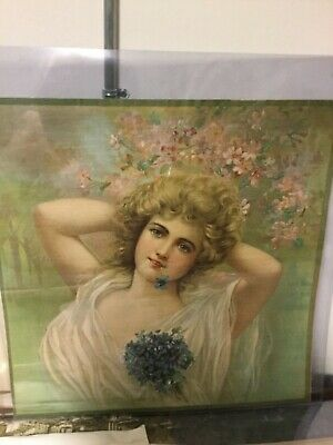 "Great Old Dated.  Nouveau, Art Deco, Victorian Lady Art on Linen 22"" x 22"""