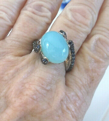 Sima K Sterling Silver Aquamarine Blue Sapphire Bypass Ring  Size 8