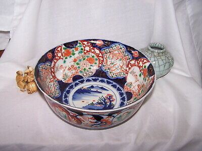 CHINESE Japanese bowl  old IMARI colored porcelain GOLD  GREEN BIRDS VILLAGE