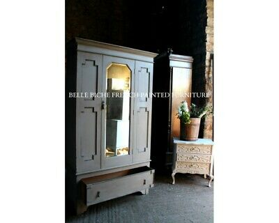 French Painted Antique Mirrored Wardrobe