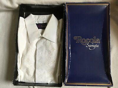 "Vintage ROCOLA Mens White Emboidered Front Dress Shirt 16"" Collar 46"" Chest"