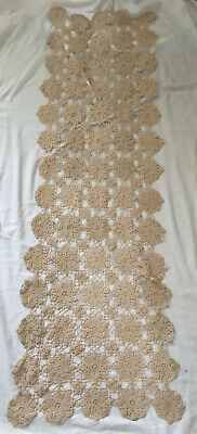 VINTAGE Cream Large Hand Made Crochet Lace Table Runner Table Cloth 60 x 18""