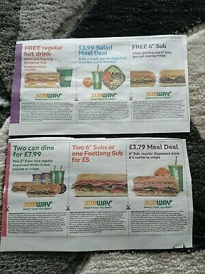 Subway Vouchers, bogof, 2 for £5, £3.79 meal deal (6 vouchers)