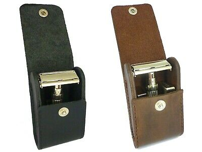 LEATHER CASE for safety razor - Full grain leather - Hand stitched