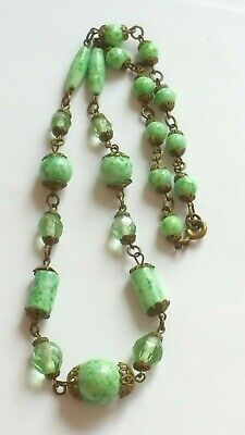 Czech Antique Art Deco Wired Peking Glass Bead Necklace Signed