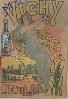 Rare Original Antique French Vichy Poster Advertising 1898 France Art Nouveau