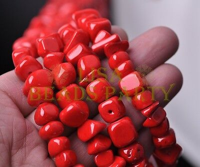 1 Strand 35'' Red Natural Stone Gemstone Free Form Rocks 9~13mm Chips Beads