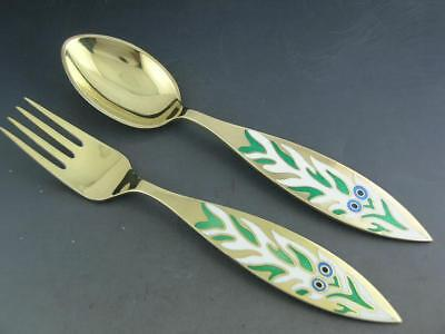 Sterling & Enamel A MICHELSEN Christmas Fork Spoon 1970 ~ Mr Snowmans Xmas Tree