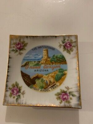"""Vintage 3.5"""" X 3.5"""" Souveiner Grand Canyon Painted Plate"""