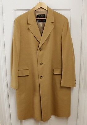 VTG Men's Long 100% Pure Cashmere Coat Overcoat Sz 40 Camel Brown USA Made