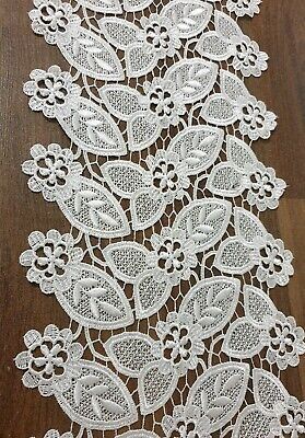 White Guipure Lace Double Edge Flat Trim Width 85mm 9005W