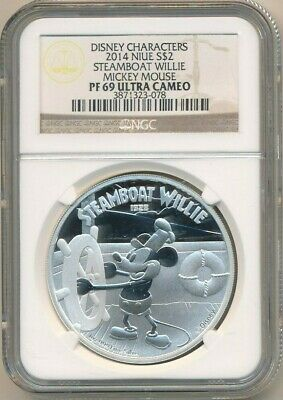 2014 Niue Silver $2 Disney Steamboat Willie Mickey Mouse-Ngc Pf69 Uc-Free S/H!