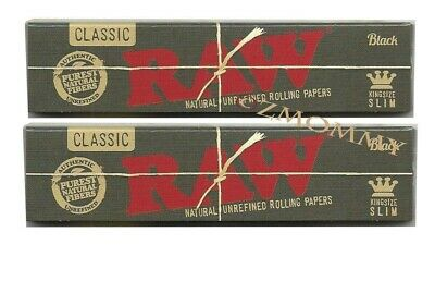 2 x Raw Black Hemp King Size Slim Rolling Papers Natural Unrefined Organic 110mm