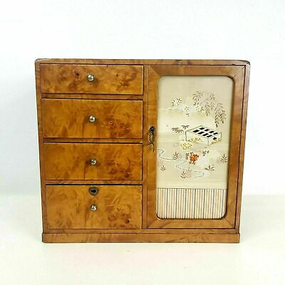 Antique Japanese Burl Jewelry Box  Four Drawers & Compartment