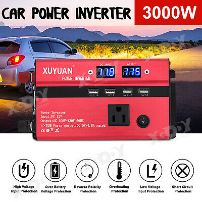 3000W 4000W 5000W Car Power Inverter DC 24V To AC 220V LCD Car USB Charger x4