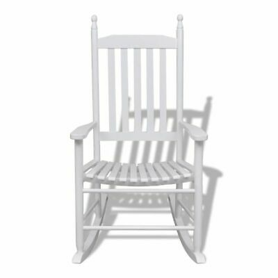 Wooden Rocking Chair Outdoor Indoor Living Garden Patio Curved Seat White Z1N0